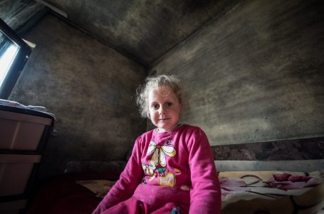 During the days she tends to the cows, but at night sleeps in a room covered with black mold – Ana (5) from Tutin